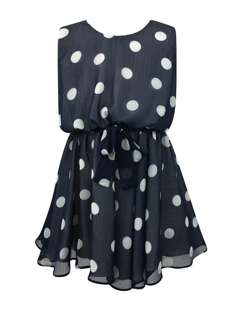 Helena and Harry Girl's Navy with White Dots Dress