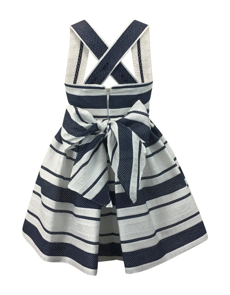 Helena and Harry Girl's Navy and White Sophisticated Stripe Dress