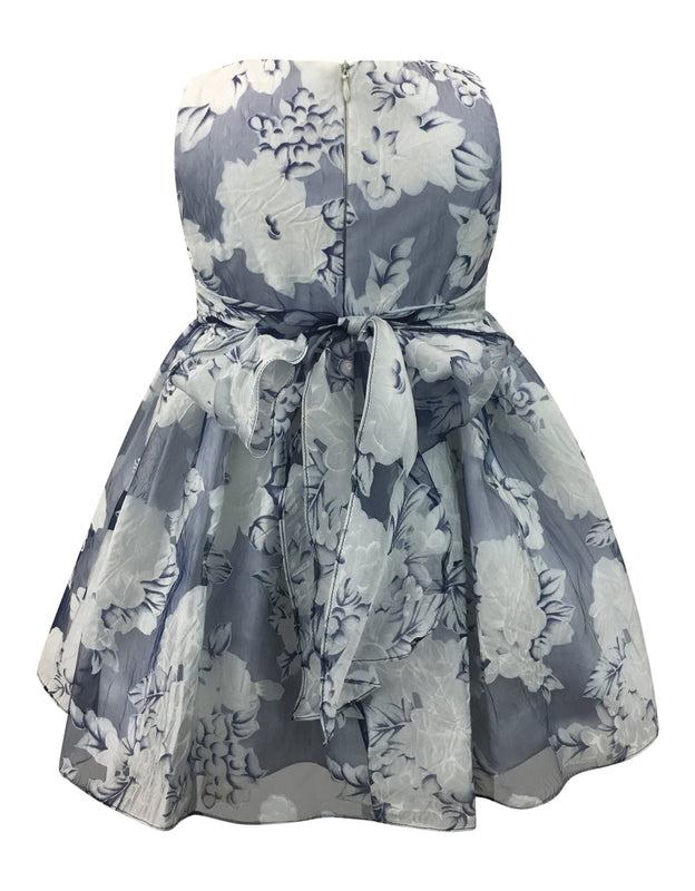 Helena and Harry Girl's Camellias on Navy Organza Dress
