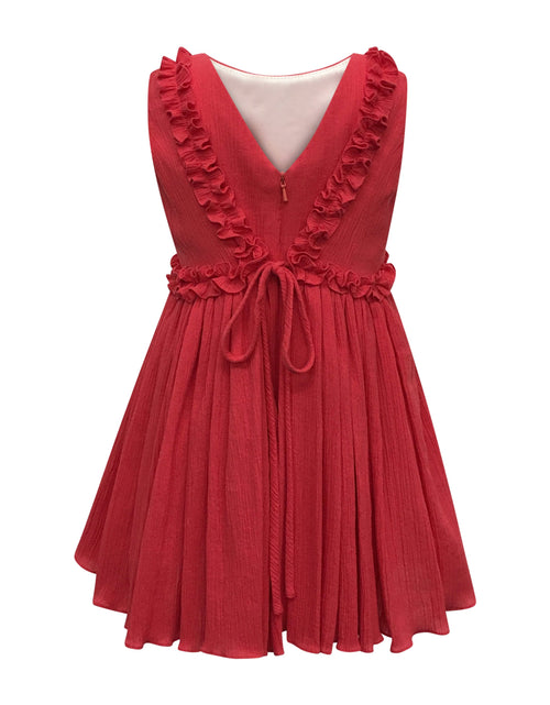 Helena and Harry Girl's Coral Crinkle Cotton Sundress