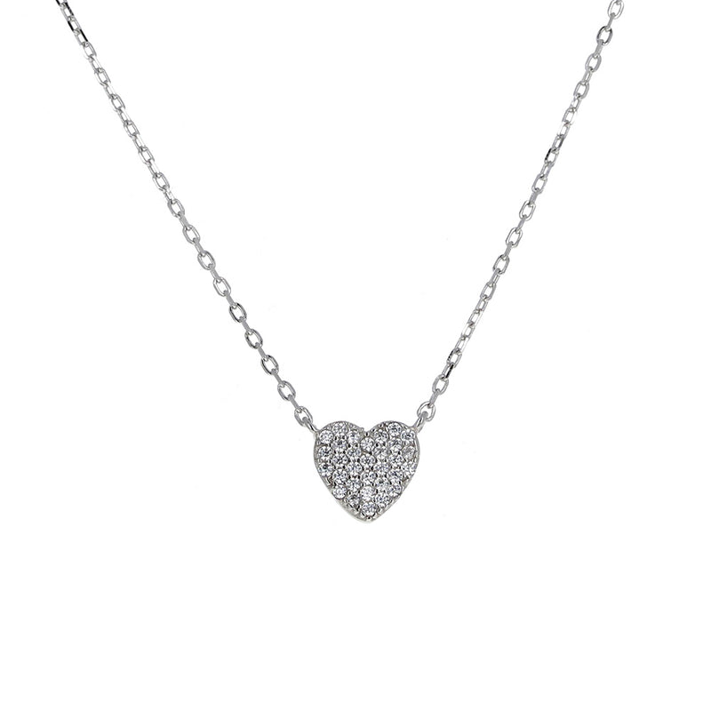 Helena and Harry Pave Heart on Sterling Silver Chain Necklace