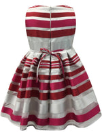 Helena and Harry Girl's Red and Fuchsia Satin Striped Organza Dress