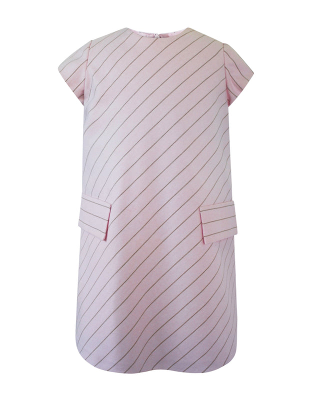 Helena and Harry Girl's Light Pink with Diagonal Stripes Dress