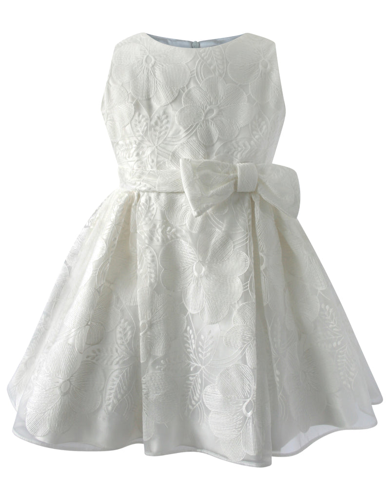 Helena and Harry Girl's White Lace Left Side Bow Dress