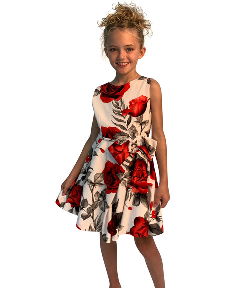 Helena and Harry Girl's Coral Floral Embroidery Lace Dress