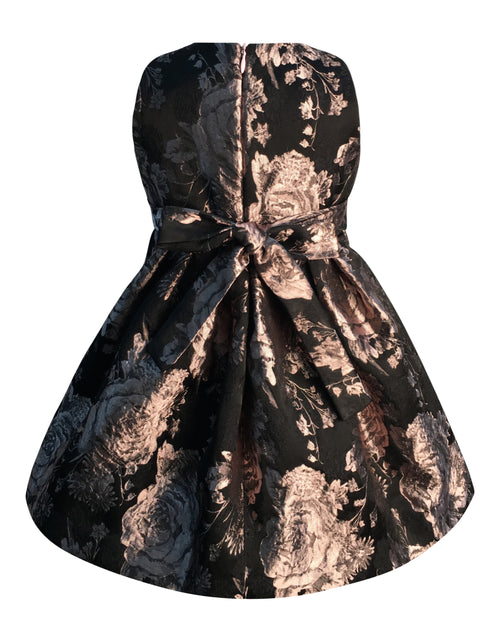 Helena and Harry Girl's Pink and Black Jacquard Dress