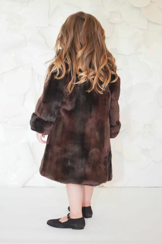Helena and Harry Girl's Black and Brown Reversible Faux Fur Lined Trench