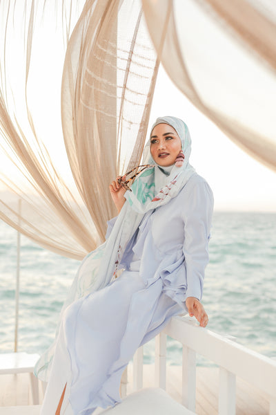 Turkish Collection : Alacati 1.0 Baby Blue Palm leaves