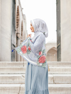 Pre order : Turkish Collection : Istanbul StoneBlue-Red Roses Satin Luxe scarf