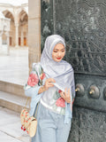 Turkish Collection : Istanbul StoneBlue-Red Roses Satin Luxe scarf