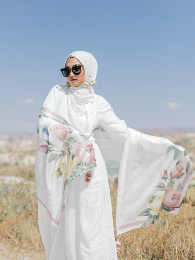 Turkish Collection : Cappadocia White Satin Luxe Scarf