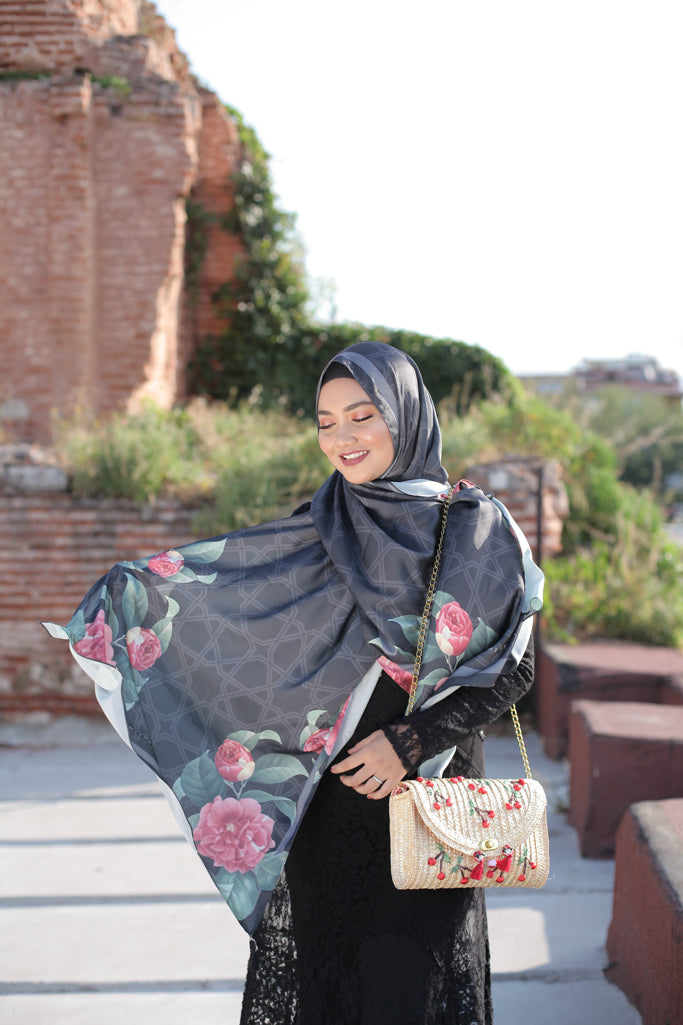 Turkish Collection : Black with red roses satin luxe scarf