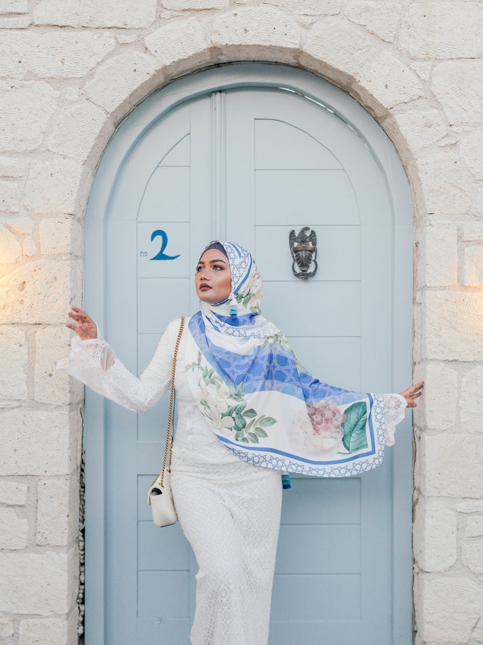 Turkish Collection : Alacati 2.0 Stripe Blue Floral Satin Luxe Scarf