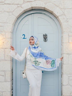 Pre order : Turkish Collection : Alacati 2.0 Stripe Blue Floral Satin Luxe Scarf