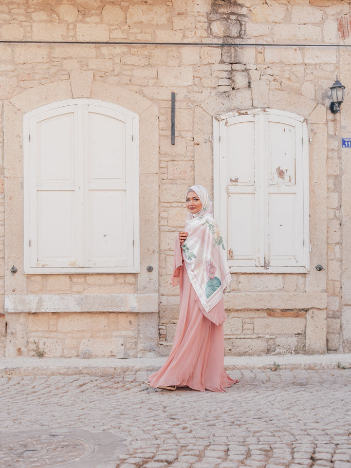 Turkish Collection : Alacati 2.0 Stripe Pink Floral Satin Luxe Scarf