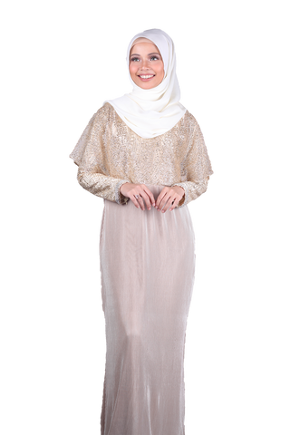 [PRE ORDER] Fatima Cape Dress - 24k
