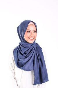 Satin matte scarf - Night blue