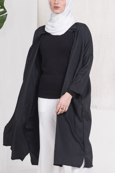 Black Batwing Buttoned Down Shirt