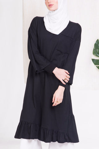 Black Effortless Flare Hem Top