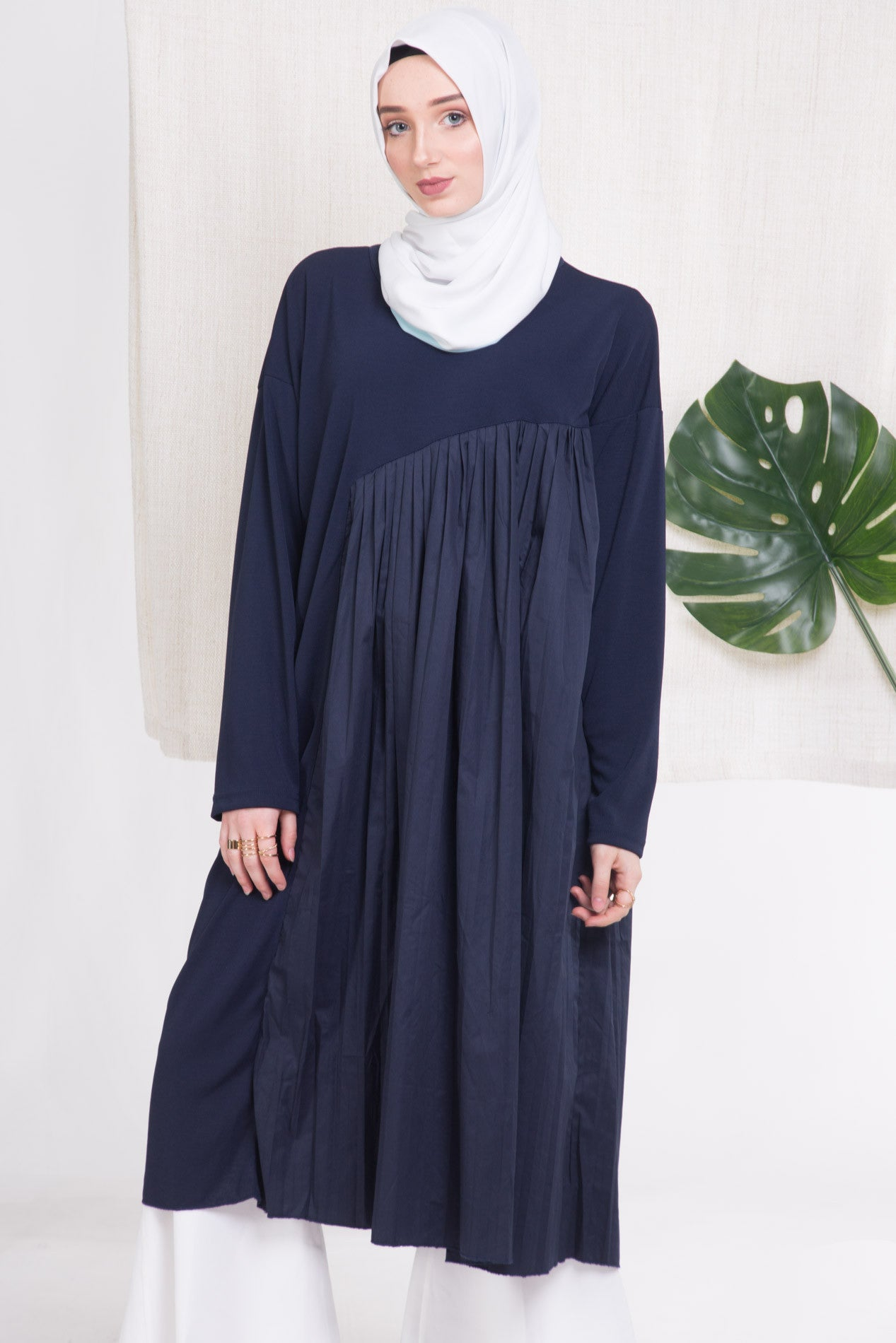 Navy Side Pleat Top