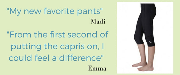 """Reviews: girls capri sports leggings tights: """"my new favorite pants"""" Madi """"from the first second I put the capris on, I could feel a difference."""" Emma Click for more reviews"""