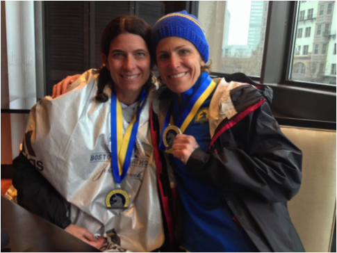 Celia's Mom and friend after finishing Boston Marathon 2015