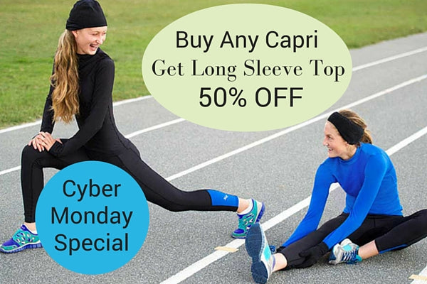 Cyber Monday Special: Buy Capri Leggings for Girls, Get 50% off Fitted Long Sleeve Top