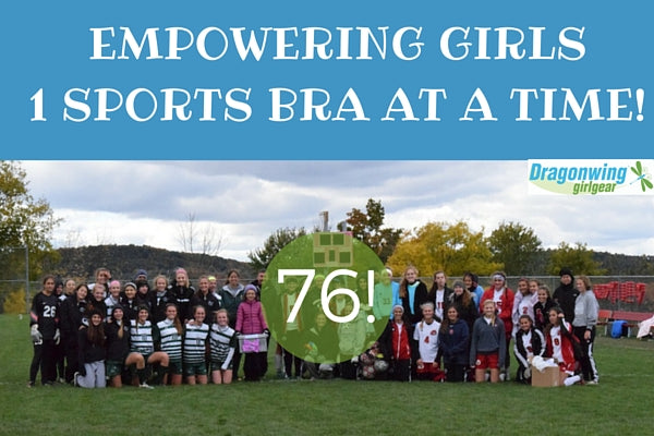girls high school soccer teams have donated 76 sports bras thanks to Zoe C.