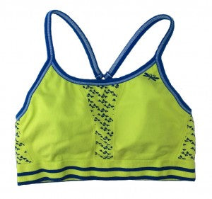 Keyhole sports bra for girls, now in chartreuse green with azure blue trim