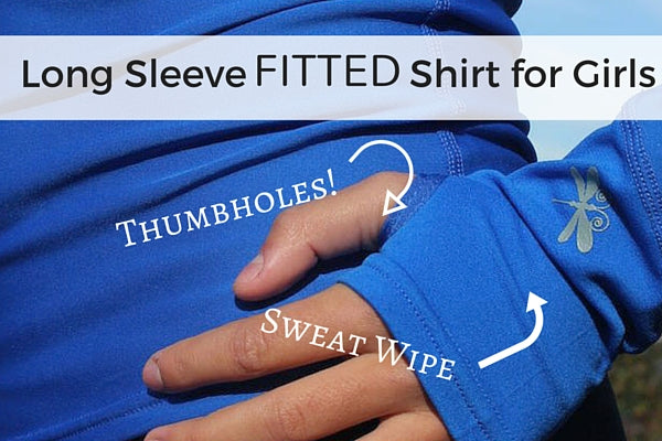 Long sleeve fitted shirt with thumbholes (close up) for girls