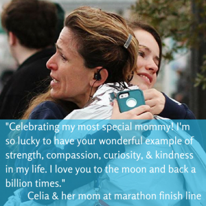 Celia: I'm so lucky to have your wonderful example of strength, compassion, curiosity & kindness.
