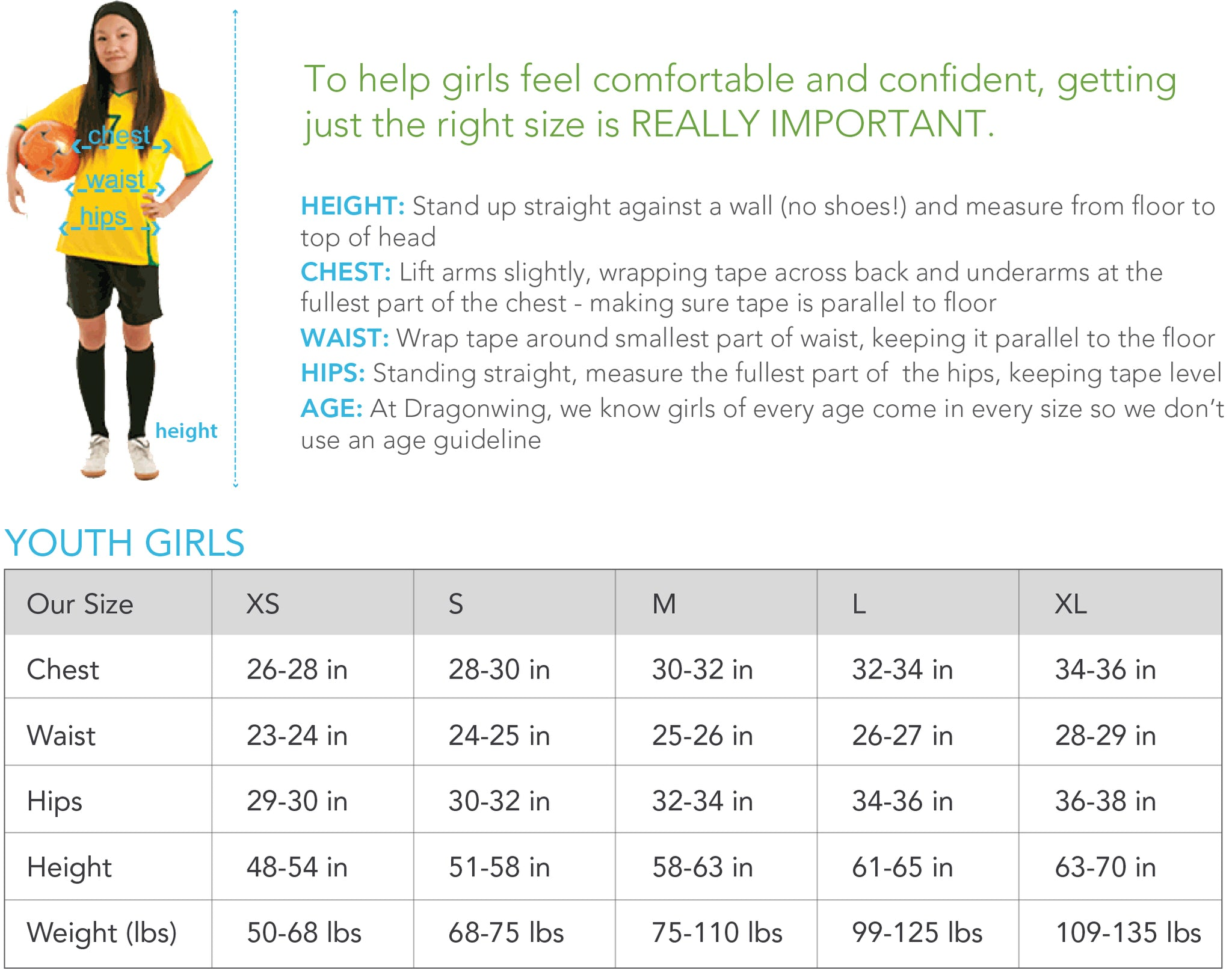 Size chart for Dragonwing girlgear - call customer service with questions 888-608-0166