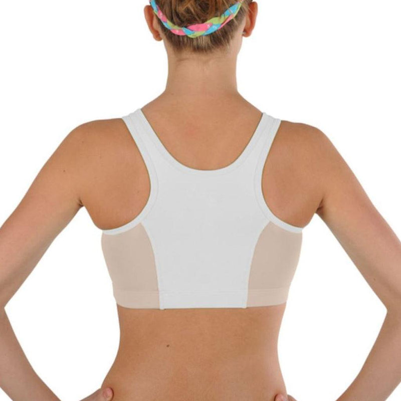Mesh Racer Sports Bra for Girls -White with Almond Mesh - Dragonwing girlgear