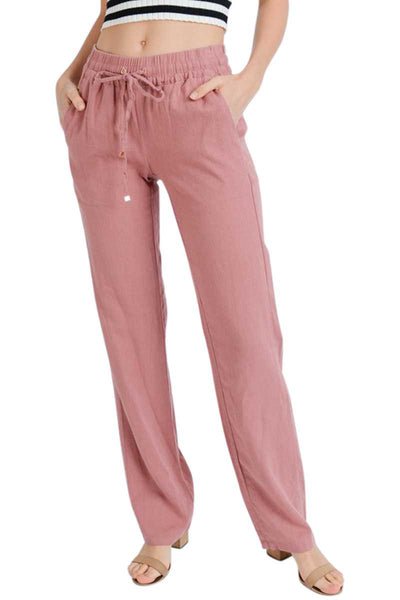 Front Tied Linen Pants With Pockets