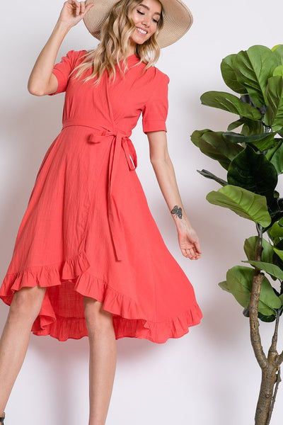 Midi Wrap Dress with Ruffled Hem