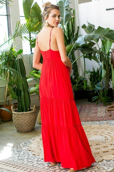 Ruffle Maxi dress with front tie