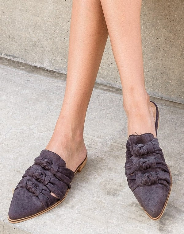 Triple Knotted Pointed Toe Mules Jenelle