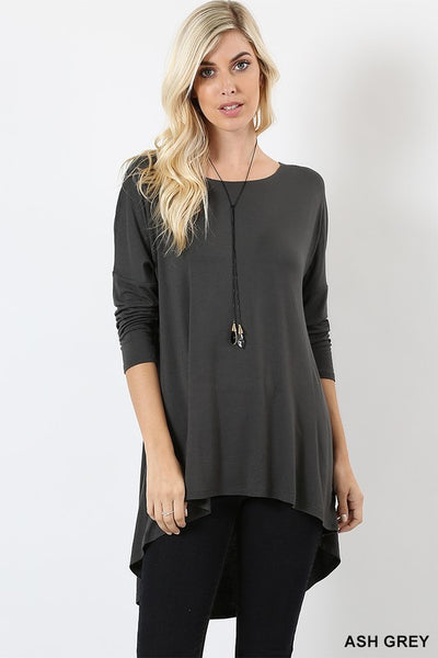 Dolman 3/4 Sleeve High Low Top