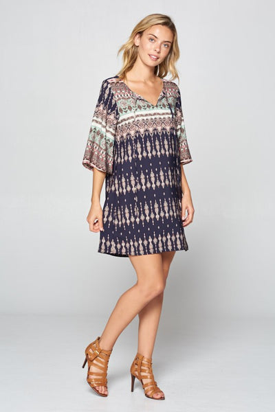 Border Woven Tunic Dress