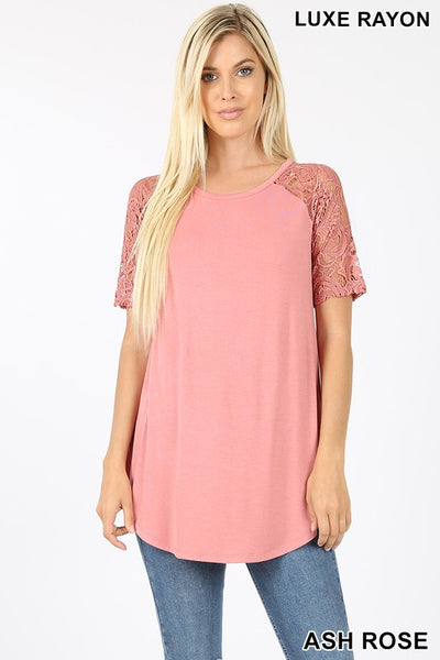 Lace Short Sleeve Round Neck Top