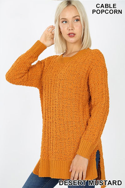 Cable Popcorn Sweater Hi-Low Hem With Side Slits