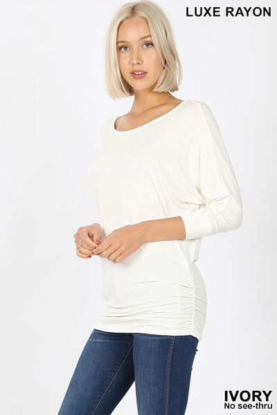 Boat Neck 3/4 Sleeve Top Shirred