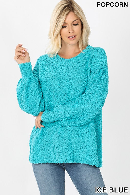Popcorn Balloon Sleeve Pullover Sweater
