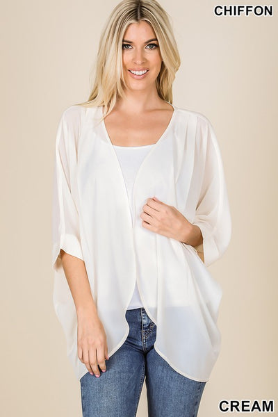 Woven Chiffon Cardigan with Shoulder Pleat