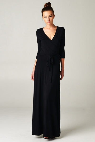 Solid Maxi wrap dress