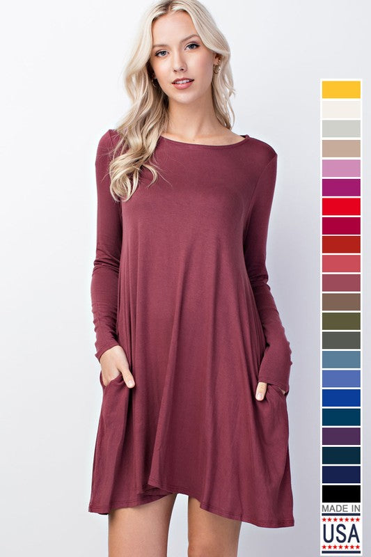 Strict Stitch Long Sleeve Solid Pocket Knit Dress