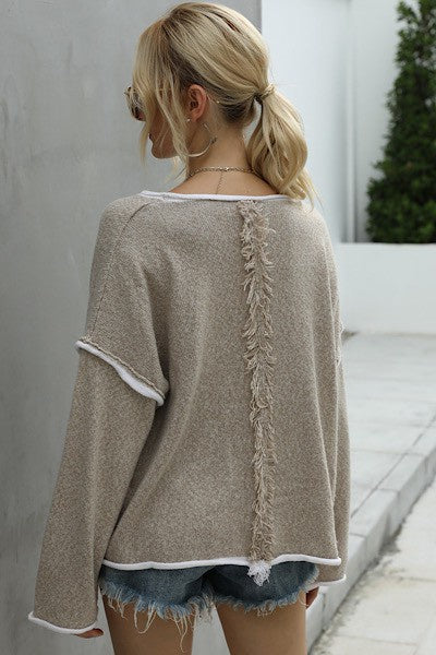 Pullover sweater with Fringe detail
