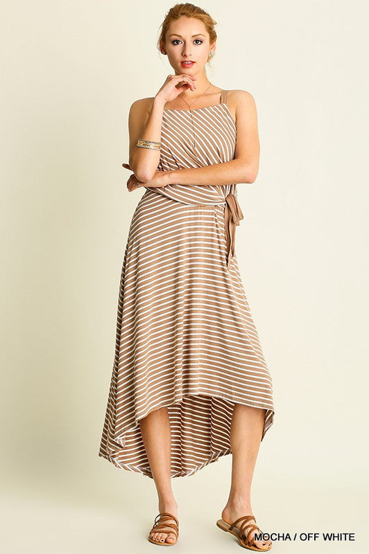 Striped hi-low dress