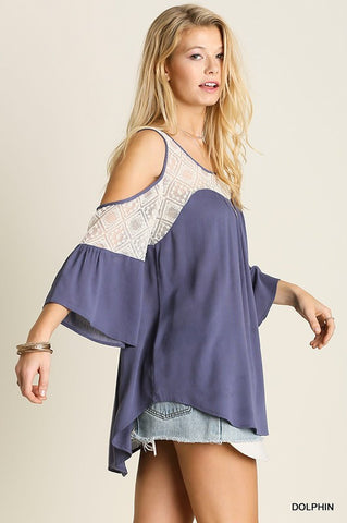 Dolphin Blue Lace cold shoulder top