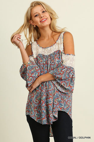 Open Shoulder Top with Paisley Print and Lace Details